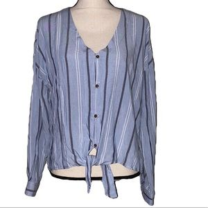 Pink Rose blue/navy/white striped button down NWT